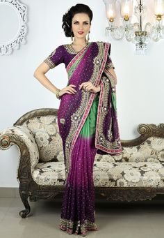 Purple and Green Art Silk Saree with Blouse Online Shopping: SDS2433A