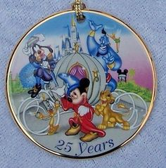 Disney World 25 Years Ornament 1996 Porcelain Its Time to Remember the Magic NIB #Disney