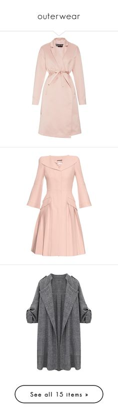 """""""outerwear"""" by tresjolie-magnifique ❤ liked on Polyvore featuring outerwear, coats, jackets, casacos, light pink, rochas coat, rochas, light pink coat, trench coat and pink coat"""