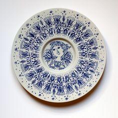 BJÖRN WIINBLAD plate for Nymolle (Denmark), via Flickr. Hand Painted Plates, Plates On Wall, Contemporary Decorative Art, Scandinavian Art, Vintage Plates, Fine Porcelain, Ceramic Pottery, Flower Art, Denmark