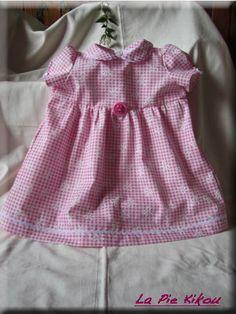 Robe rose en vichy pour bébé 18 mois