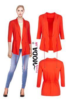 Štýlový úpletový dámsky bluzón v trendy oranžovej farbe. Modeling, Jar, Polyvore, Image, Fashion, Colors, Moda, Modeling Photography, Fashion Styles
