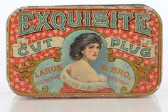 exquisite cut plug larus and bro tobacco tin Vintage Type, Look Vintage, Vintage Box, Vintage Packaging, Vintage Labels, Vintage Posters, Packaging Design, Tin Containers, Vintage Typography