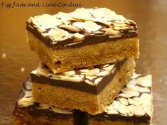 This quick and easy recipe comes from the Silver Palate Cookbook. I first made it more than twenty years ago, and can still remember the excitement of my then work colleagues when I brought it in f… Fig Jam And Lime Cordial, Silver Palate Cookbook, Toffee Bars, Cookie Recipes, Dessert Recipes, Cookie Bars, Bar Cookies, Eat Dessert First, Chocolate Desserts