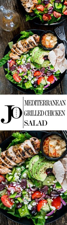 40 Delicious Grilling Recipes for the Tastiest Summer Cookouts Mediterranean Grilled Chicken Salad - the perfect summer salad full of Mediterranean flavors! Marinated Greek chicken with an extremely delicious salad! Salad Recipes, Diet Recipes, Chicken Recipes, Cooking Recipes, Healthy Recipes, Chicken Flavors, Grilled Chicken Salad, Grilled Cauliflower, Mediterranean Recipes