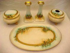 Austrian Bavarian porcelain hand painted vanity dresser set daisies