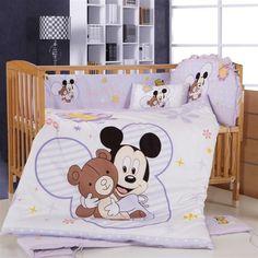 Promotion! 8PCS Mickey Mouse Crib Bedding Set Animals,Good New Cotton Baby Bedding Bumper Set