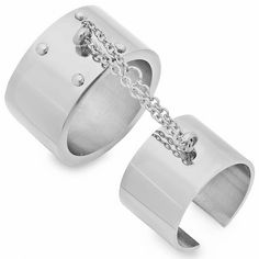 Double Finger Cuff Ring - Silver
