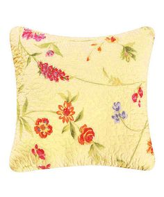 This 14'' Yellow & Red Flower Embroidered Pillow is perfect! #zulilyfinds