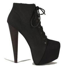 Black #Platform Ankle #Bootie Lace up High #Heel #Shoes