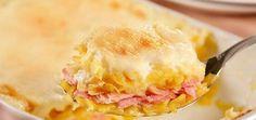 Receita de gratinado de mandioquinha com presunto e queijo