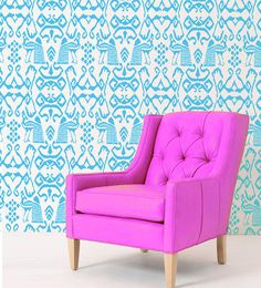 Ikat Peacock Modern allover wall stencil home decor