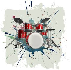 Drum Kit On Grunge Background Stock Illustration 38461753 Drum Drawing, Drums Art, Decal Wall Art, Canvas Prints, 3d Printed Metal, Art, Music Artwork, Prints, Drummer Tattoo