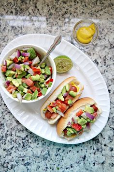 Grilled Hot Dogs with California Avocado Relish from @dineanddish