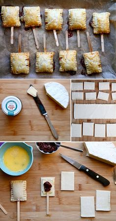 Brie and preserves w/puff pastry...on a stick. Perfect passing apps