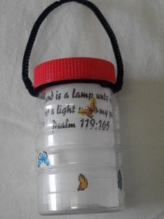 Your lamp is a lamp to my feet, and a light to my path Ps. 119:105,  Lantern, and include a glow stick so it can be used in the evening after Sunday School, to encourage review of this great Bible verse later at home. Print verse on vellum so it allows glow stick to shine through!