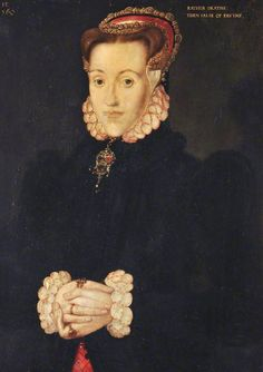 "1560 English: See rings on both hands. ""Rather Deathe than False of Faythe""  ""Anne Asycough/Askew, Mistress Thomas Kyme"" by Hans Eworth.  National Trust (Tatton Park)."