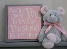 Gray and Pink Baby Nursery Wall Decor Grey Wall by NelsonsGifts. , via Etsy.