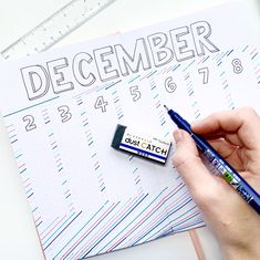 Easy December bullet journal layout featuring new Dual Brush Pen colors Bullet Journal Weekly Layout, December Bullet Journal, Bullet Journal Layout, Doodle Drawings, Easy Drawings, Journal Inspiration, Journal Ideas, Tombow Usa, Tombow Dual Brush Pen