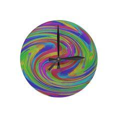 colorful swirls round clocks