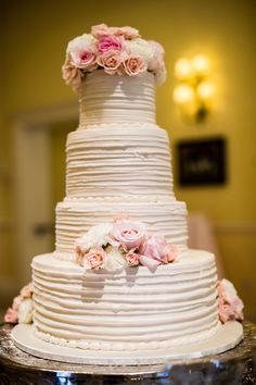 Wedding Cake - by Frosted Art Bakery on Style Me Pretty: http://www.StyleMePretty.com/southwest-weddings/2014/03/05/arlington-hall-at-lee-park-wedding/ Amy Herfurth Photography