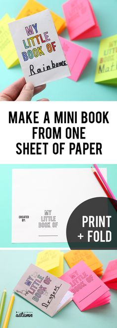 How to make a fun mini book from one sheet of paper! Easy foldables idea PLUS printable template. Hobbies For Kids, Diy For Kids, Paper Crafts For Kids, Book Crafts, Mini E, Homemade Books, Construction Paper Crafts, Christmas Crafts To Sell, Paper Book