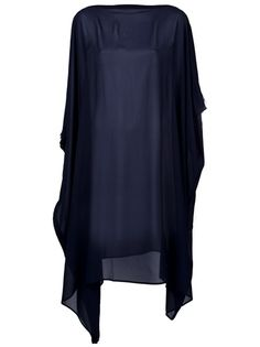 Navy blue dress from Maison Martin Margiela featuring sheer fabric, a slash neck, armholes, asymmetric waterfall hem and a silk lining. Please note: the top worn underneath does not come with the dress.