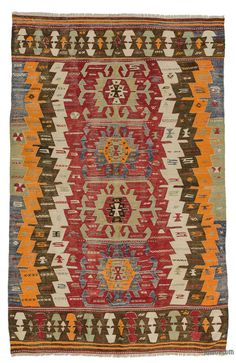 Antique kilim rug hand-woven in Afyon, located inland from the Aegean coast of Turkey in early 20th century. This vegetable-dyed tribal kilim is in excellent condition.