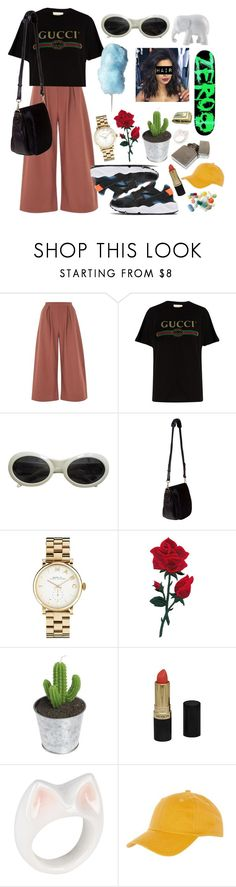 """""""Sem título #1102"""" by mariana-almeida-4 ❤ liked on Polyvore featuring Oh My Love, Gucci, Nomadic, NIKE, Marc by Marc Jacobs, Revlon, Nach, Topshop and The Elephant Family"""