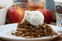 Peanut Butter Apple Crisp from A Whisk and Two Wands using @PeanutbutterCo's new Pumpkin Spice Peanut Butter.