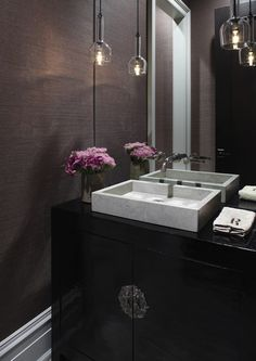 Hickman Design Associates - Chic powder room with aubergine grasscloth wallpaper, glossy . Chinese Bathroom, Asian Bathroom, Modern Bathroom, Bathroom Taps, Black Cabinets Bathroom, Bathroom Black, Black Powder Room, Powder Room Lighting, Modern Powder Rooms