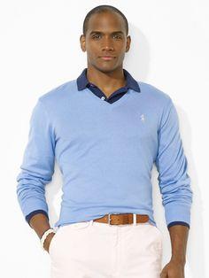 Polo Ralph Lauren Pima Vneck Pony Sweater in Blue for Men