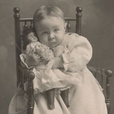 Antique cabinet card photo of baby girl with her doll...so precious!!!