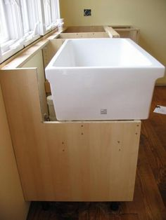 farmhouse sink installation with Ikea cabinet tutorial
