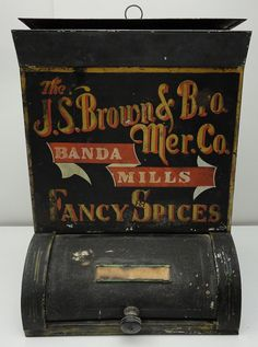 Items similar to Tin Banda Mills Fancy Spice Coffee & Tea Bin Store Dispenser Display on Etsy Old General Stores, Old Country Stores, Vintage Tins, Vintage Antiques, Spice Tins, Spice Racks, Tin Containers, Vintage Typography, Store Displays
