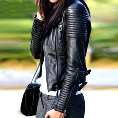 2016 New Fashion Autum/ Winter WOMANS LEATHER MOTORCYCLE JACKET
