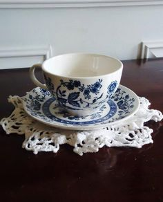 Pre 1949 Blue Onion Tea Cup and Saucer Set