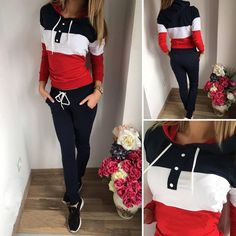 Kunfang Fashion Women 2 Piece Block Color Hoodie Tracksuit Long Sleeve Sweatshirt Pant Sport Outfit Set
