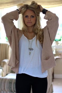 cardigan and jewelry