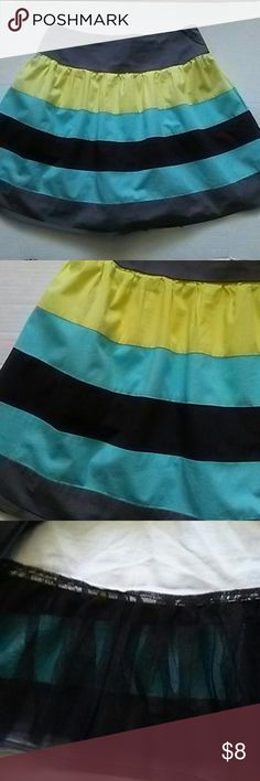Color block Mini Cotton and spandex Elastic waist Polyester lining with black tule trim Pre loved.  In great condition. Candie's Skirts Mini