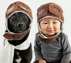 Perro Zoey y el niño Jasper