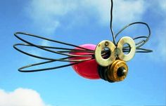 Smart Creative Recycled Dragonfly Decoration christmas bulb and washers