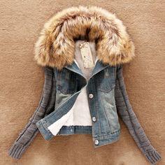 $48.00 (Buy here: https://alitems.com/g/1e8d114494ebda23ff8b16525dc3e8/?i=5&ulp=https%3A%2F%2Fwww.aliexpress.com%2Fitem%2FWomen-Autumn-Winter-Coat-Denim-Jacket-Short-Outwear-Long-Wool-Sleeve-Thick-Jacket-Nagymaros-Fur-Collar%2F32516611690.html ) Women Autumn Winter Coat Denim Jacket Short Outwear Long Wool Sleeve Thick Jacket Nagymaros Fur Collar Female Plus Size LQ018 for just $48.00