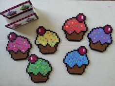 Cupcake Coasters perler beads by KitschyHomeCrafts