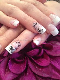 White French tips with crystal glitter acrylic overlays and black freehand nail art