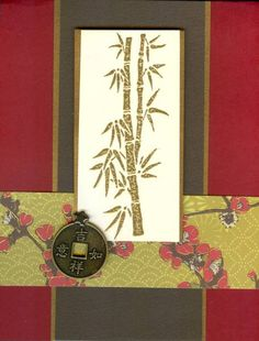 Asian themed card ... bamboo and washi ... dark red, black and olive ...