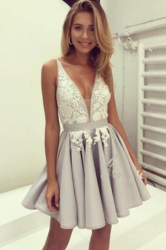 Cute Zipper Back Short V-neck Lace Beaded Homecoming Dresses,Homecoming Dress Z0057