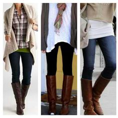 Black tights or dark skinny jeans with layered shirts and sweaters in light colors, brown boots