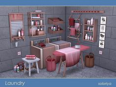 ***Laundry*** Sims 4 3 color variations,18 objects: decorative washer, decorative dryer, 3 wall deco, 3 kinds of towels, bag, ironing board, fabric for ironing board, old iron, electric outlet,...