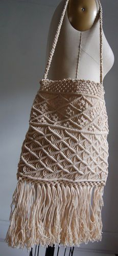 VINTAGE DEADSTOCK HIPPIE CROCHET MACRAME LONG FRINGED SHOULDER BAG PURSE